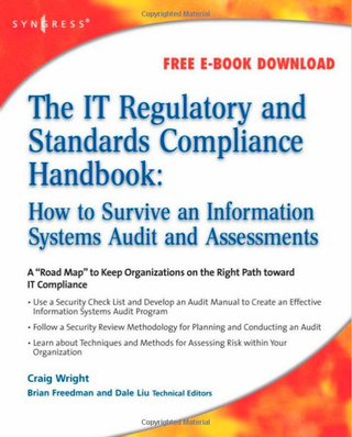 "<h4>The IT Regulatory and Standards Compliance Handbook</h4><p>by Craig S. Wright</p> <strong>Product details</strong><br> Paperback: 750 pages<br> Publisher: Syngress; 1st edition (July 4, 2008)<br> Language: English<br> ISBN-10: 1597492663<br> ISBN-13: 978-1597492669<br> Product Dimensions: 7.5 x 1.7 x 9.2 inches<br> Shipping Weight: 2.8 pounds<br> <a href=""https://www.amazon.com/Regulatory-Standards-Compliance-Handbook-Information/dp/1597492663"" target=""_blank"">Amazon link </a>"