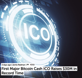 "<p>On Oct. 8, 2018, the blockchain firm and mining pool Viabtc finished the first high-value initial coin offering (ICO) using the Wormhole protocol and Bitcoin Cash chain. According to exchange data, the Viabtc Token ICO raised US$3,700 per second capturing a total of $30 million in 2.2 hours.</p> <p>Source:<br /><a href=""https://news.bitcoin.com/first-major-bitcoin-cash-ico-raises-30m-in-record-time/"">https://news.bitcoin.com/first-major-bitcoin-cash.../</a></p>"