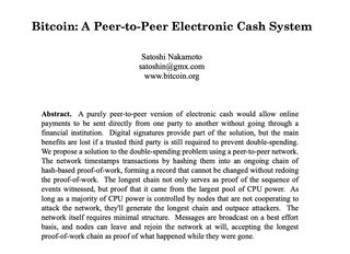 "<p>Published by Satoshi Nakamoto on Fri 6:10pm 2008 10-31 UTC Oct 31 2008 to the <a href=""http://www.metzdowd.com/pipermail/cryptography/2008-October/014810.html"" target=""_blank"">metzdowd.com cryptography mailinglist.</a></p> <p> <p>The paper is available at:<br /><a href=""http://www.bitcoin.org/bitcoin.pdf"" target=""_blank"">http://www.bitcoin.org/bitcoin.pdf</a></p>"