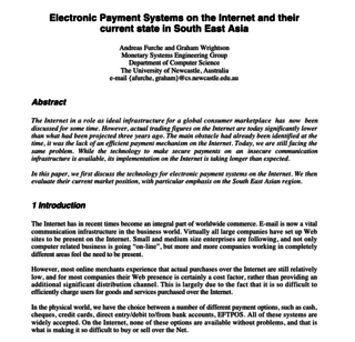"<h2>Electronic Payment Systems on the Internet and their current state in South East Asia</h2> <p>by Andreas Furche and Graham Wrightson</p> <p><a href=""https://pdfs.semanticscholar.org/9d0f/9e8d3e573fc7a74223cc35049af900217d4a.pdf"" target=""_blank"">Source</a></p>"