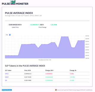 "<h2>PULSE AVERAGE INDEX</h2> <p>Average Index of main SLP Tokens: SPICE, DROP, SAI</p> <p><a href=""http://pulse.monster/"" target=""_blank"">pulse.monster</a> by <a href=""https://twitter.com/tracyspcy"" target=""_blank"">tracyspacy</a></p>"