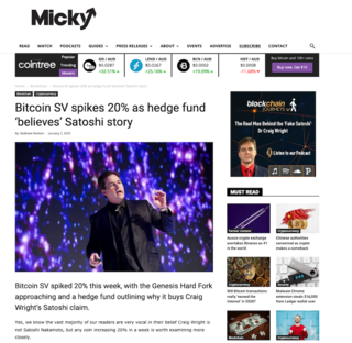 "<p>Source:&nbsp;<a href=""https://micky.com.au/bitcoin-sv-spikes-20-as-hedge-fund-believes-satoshi-story/"" target=""_blank"">micky.com.au</a></p>"