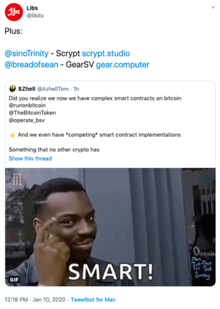 "<p>BSV has already 5 competing smart contract implementations:</p> <p>- <a href=""https://runonbitcoin.com/"">runonbitcoin.com</a></p> <p>- <a href=""http://bitcoincomputer.io/"">bitcoincomputer.io</a></p> <p>- <a href=""https://www.operatebsv.org/"">operatebsv.org</a>&nbsp;</p> <p>- <a href=""http://scrypt.studio/"">scrypt.studio</a></p> <p>- <a href=""https://gear.computer/"">gear.computer</a></p>"